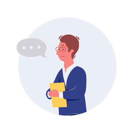 Business people talking and discussing. Businessmen discuss with speech bubble talk vector illustration. Ilustrace