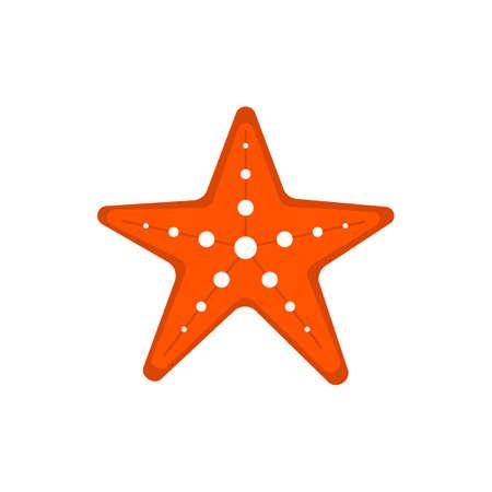 Decorative red starfish vector illustration isolated on white. Marine animal sea star.