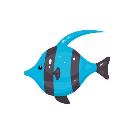 Tropical fish vector icon in cartoon hand drawn style. Sea animal illustration. Marine life.