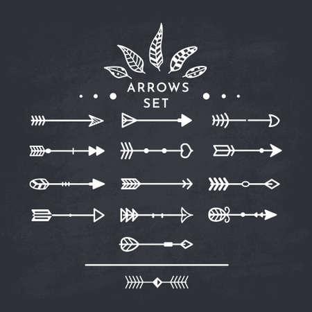White tribal arrow in new modern style. Chalkboard Arrows hand drawn icons set on the black blackboard