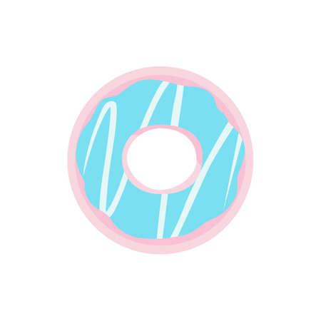 Catoon donut with glaze vector illustration isolated. Sweet dessert