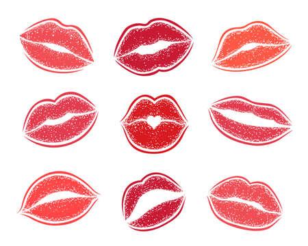 Modern Lips prints on a white background. Vector set of womans girl lipstick kiss mark