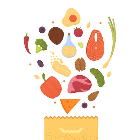 Keto diet products set vector. Ketogenic raw food icons with texture. Fats, proteins and carbs healthy concept