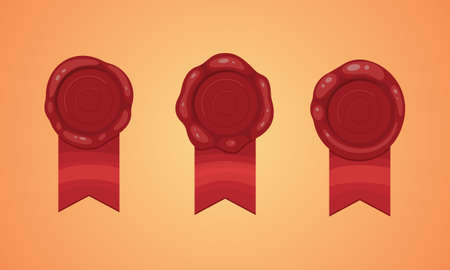 Red stamp ribbons isolated illustration. Vector wax seal with ribbon