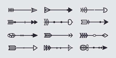 Black tribal arrow in new modern style. Chalkboard Arrows hand drawn icons set.