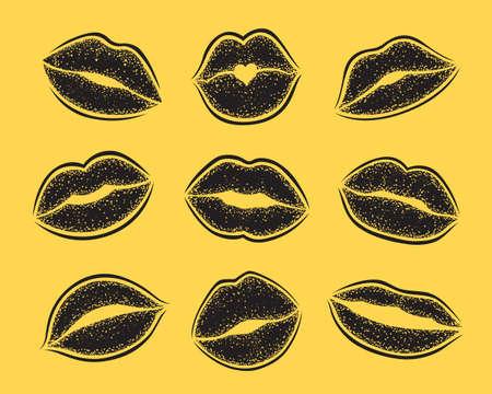 Modern Lips prints on a white background. Vector set of womans girl lipstick kiss mark. Ilustrace
