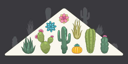 Cactus and succulent plants vector icons in cartoon style. Home plants cacti isolated.