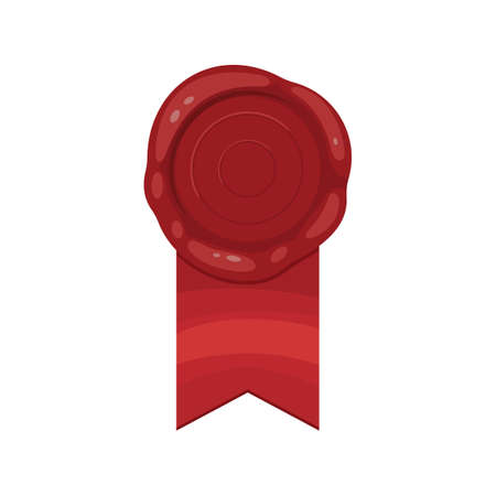 Red stamp ribbon isolated illustration. Vector wax seal with ribbon