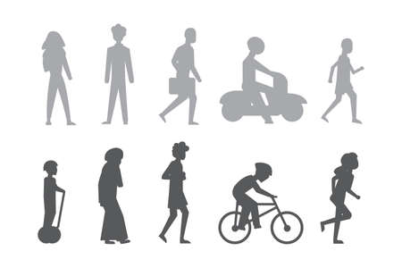 Group of tiny people riding bikes on city street. Illustration of male and female flat cartoon characters isolated. City peoples vector silhouette Ilustrace