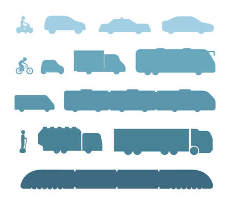 Different kinds of city and intercity public transport silhouette. Set transportation vector illustration. Car, bus and truck Icons