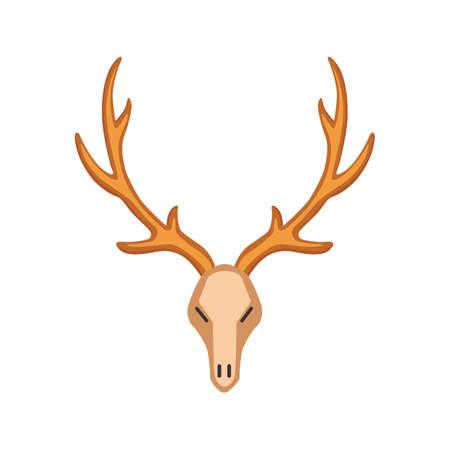 Vector horn, horny hunting skull trophy illustration in cartoon style Ilustrace