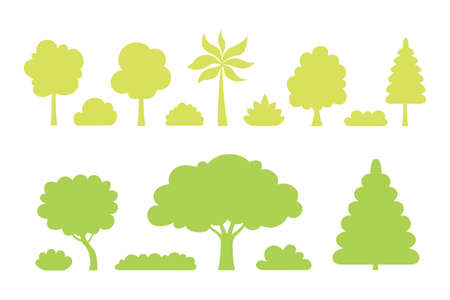 Collection of trees and bushes silhouette illustrations in cartoon style. Forest and garden tree nature plant isolated