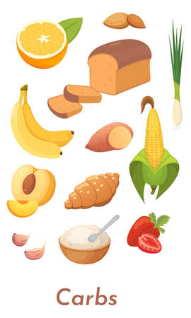 Carb food set. Vector carbs icons collection. Diet, delicious meal from carbohydrate group. Ilustração