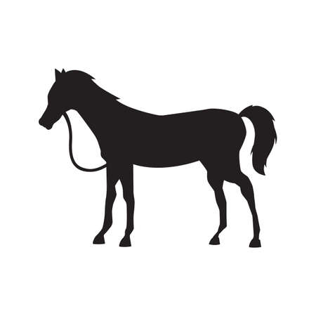 Cute horse standing silhouette vector illustration