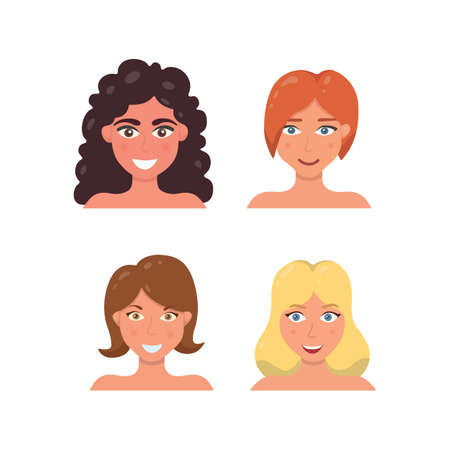 Cute Woman Face illustration. Woman s avatar in cartoon style. Young girl portrait facial expression. Vector Illustratie