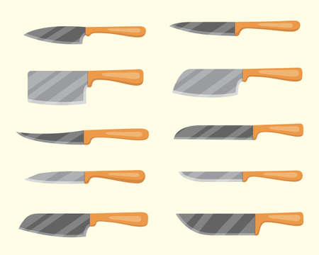 Set of vector knives for butcher shop. Kitchen knive and cutter. Utensils for cooking, kitchenware, and weapon knifes. 向量圖像