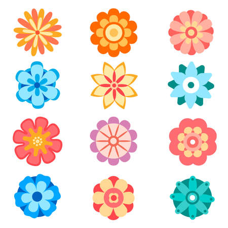Set of vector decorative flower icons in flat style. Spring flowers silhouette collection. Floral clipart illustration
