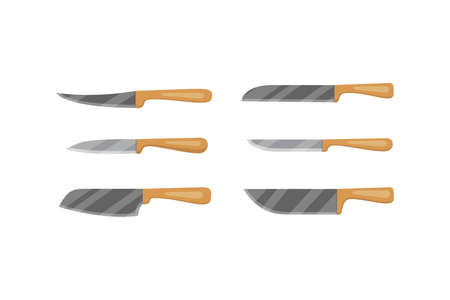 Set of vector knives for butcher shop. Kitchen knive and cutter. Utensils for cooking, kitchenware, and weapon knifes. Ilustração
