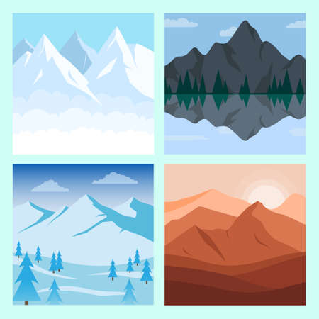 Different vector mountains landscape set vector illustration. Vector mountain and forest with hills and trees illustration.