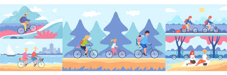 People go cycling. Bike tourism baners. Cycle sport and Mountain bike races. Bicycle riding adventure vector cartoon illustration.