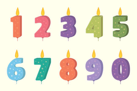 Vector birthday cakecandle set. Candle numbers for cake. Candles collection for party decoration.
