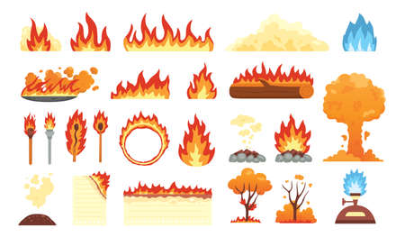 Set of hot flaming elements. Vector collection of fire flame icons in cartoon style. Flames of different shapes, forest fire, burning sheet of paper and flaming symbols.
