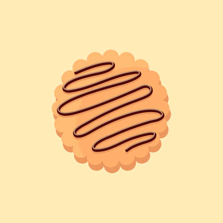 Delicious cookie cartoon vector illustration sweet food.
