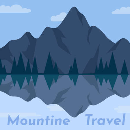 Mountains landscape illustration. Vector mountain and forest with hills and trees illustration. Ilustração