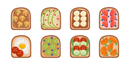 Toast breackfast vector illustration. Toasted sandwiches collection.Toasts with different ingredients Top View.