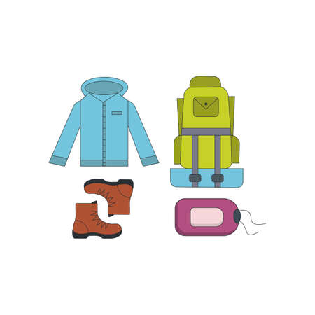 camping equipment set vector icons isolated on white.