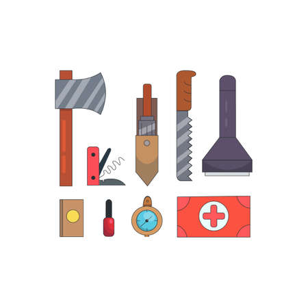 Camping tools vector isolated icons on white. Ilustração