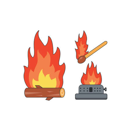 camping fire vector isolated icon on white in cartoon style.