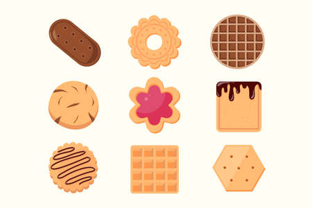 Cookie and biscuit icon collection Isolated on white background. Delicious cookies cartoon vector illustration sweet food.