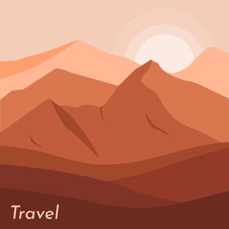 Mountains landscape illustration. Desert mountain and hills landscape.