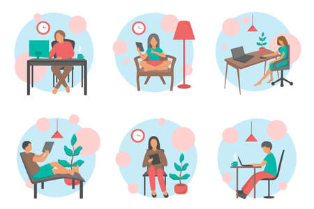 People work at home office vector flat illustration. Freelancer character working from home workplace. Young man and woman freelancers working on laptops.
