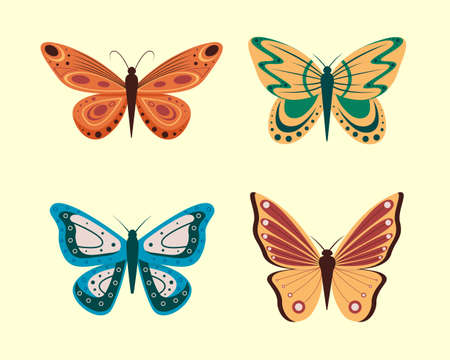 Vector illustration of cartoon butterflies isolated on white background. Abstract butterflies, colorful flying insect.