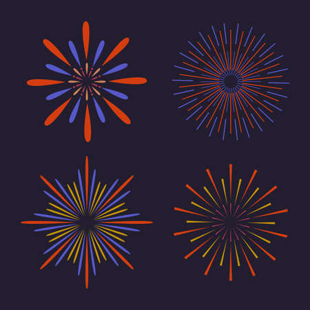 Vector abstract colorful Fireworks On Dark Background. Firework show for new year, xmas, birthday, carnival and holiday. Ilustração