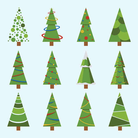 Christmas trees icon set isolated snow. Pine tree New Year decoration. Vector illustration.