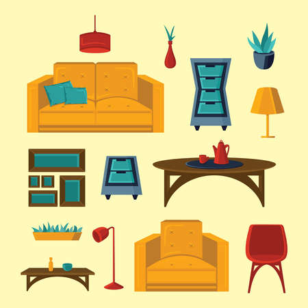 Living room interior vector illustration in flat style.