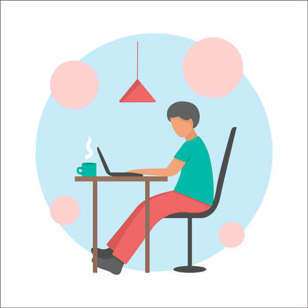 People work at home office vector flat illustration. Freelancer character working from home workplace. Young freelancer working on laptops.