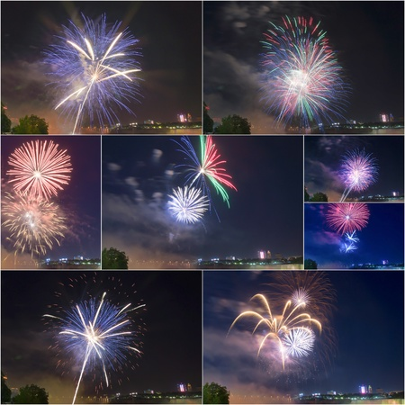 Different Colors Explosion of Firework in Niagara Falls Ontario,Canada # 1 Stock Photo