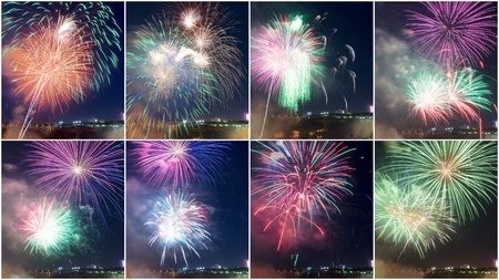 Different Colors Explosion of Firework in Niagara Falls Ontario,Canada # 4 Stock Photo