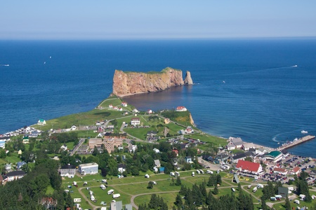 City of Percé, Percé Rock in the background.