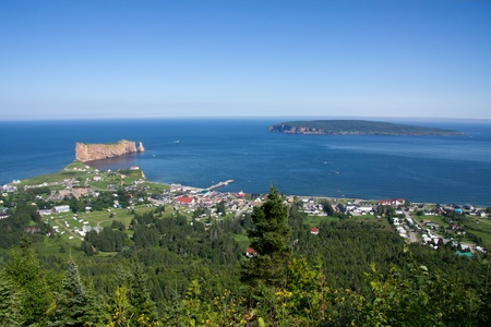 Global View of the City of Rock, and Bonaventure Island in the background.