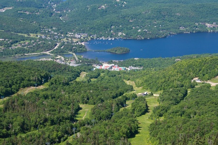 Aerial View of the City of Tremblant Quebec, Canada. photo