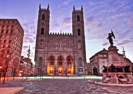 HDR Image Of Notre Dame Basilica in Old Montreal and part of Place D