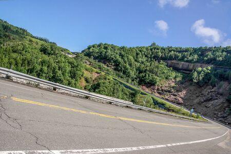 tilt: Perspective of a tilt of a Mountain Road