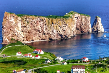 HDR image of Perce Rock in Quebec