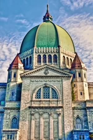montreal: HDR image Of the Dome and part of the St-Joseph Oratory in Montreal Stock Photo
