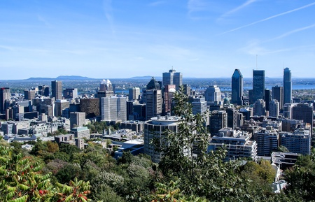 Skyline of Downtown Montreal Stock Photo